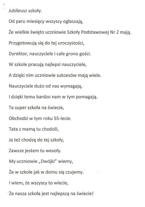 Konkurs Na Tekst Piosenki Lub Wiersz Z Okazji Jubileuszu 55